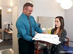 Spoiled chick Bambi entices her step-dad in his office