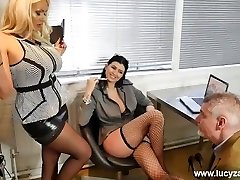 Sexy boss broads turn office perv into nylon stockings idolize foot slave