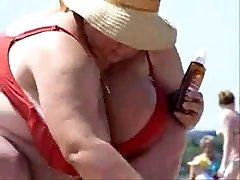 Russian PLUS-SIZE Mature Big Boobs on beach! Inexperienced!