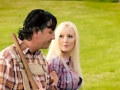 Blonde ex-wife outdoor forest drill in this jokey video