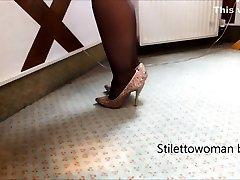 Mini Miniskirt, black Nylons and 5 inch sheen Heels, Stilettowoman bbw