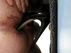 Shoving a sexy high heels up my ass!!!