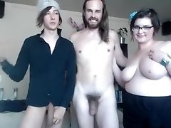 Straight and homosexual and lush gal make kinky threesome online