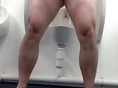 Fully bare wank in a public toilet