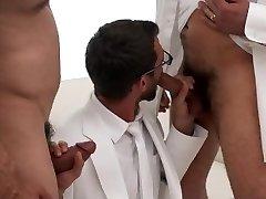 MormonBoyz-Two bearded daddies double tear up a insane Mormon recruit