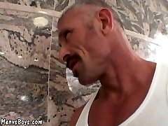 Muscled dad with thick mustache fucks harsh man