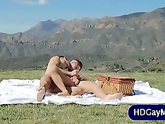 Outdoor enjoy session for gay lovers