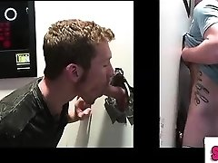 Hetero amateur gets homo blowjob at gloryhole