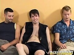 Pierced brunette gay Rob getting plowed by two cool