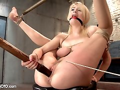 I get off watching hot little sluts fuck themselves silly. Especially when their ankles are jacked up behind their head, and they are relentlessly drilled on the merits of servitude and submission. To wit - trainee Allie James makes a fine display of herself as she pumps her greedy cunt with huge cock on a stick while being quizzed on last night's homework.I like the way she says 'Thank you Sir' when I pop her face off the hard dick. And I like the way her eyes tear up and the drool dribbles all over her beautiful, bouncing tits when I fuck the shit out of her throat with that same cock.She bends over and opens up her hungry cunt for that dick like a good little dick princess, and I reward her for it by giving her a nice thrashing with the flogger as she fucks my gimp's dick dry.