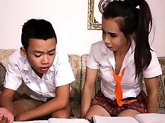 Asian dude sucks off ladyboy study partner college girl