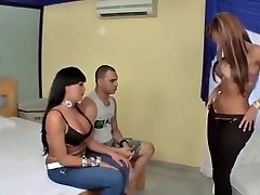 Busty latina Tgirls and one man three-some