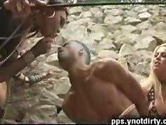 Nasty mistress shemales explore a boy ass
