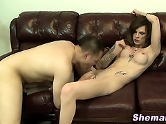 Fetish she-male blows a load dude