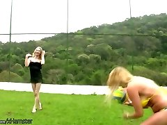 Four ladyboys in string bikini playin volleyball and penetrating