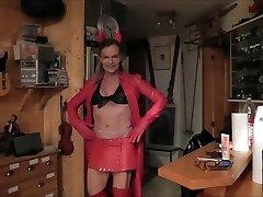 leather slut she-creature enjoy cum