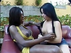 Horny latina rides tgirl's big bone