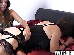 Hot Mistress spanks promiscuous crossdressers tight ass for dressed in her silk panties