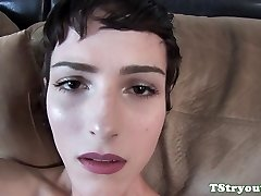 Solo casting tgirl jerking her hard beef whistle