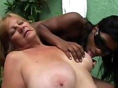 Dark-hued Tranny anb Blonde Grandmother - Part 1