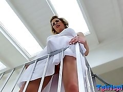 Blonde ladyboy Delia De Lions asshole penetrated in Trio way