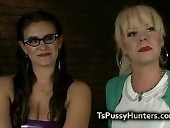 Busty tranny fucks busty babe in domination & submission
