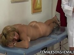 Golden-haired shemale fucks MILF pussy