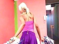 Trampy tgirl cheerleader