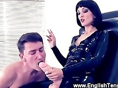 Bitch Goddess burns subs tongue with cigarette