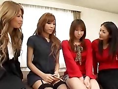 Pretty Japanese transgirls orgy