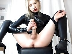 Visceratio in latex suit cumshow 2