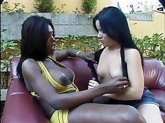 Horny latina rails tgirl's giant dick