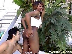 Dark-hued tgirls tight backside toyed