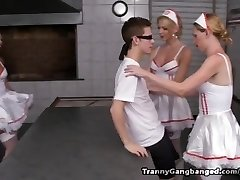 6 T-girl Nurses Have the Cure for this Horny Perv