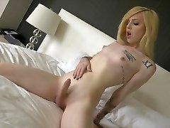 Transsexual Annabelle Lane cute blondie, sexy feet, masturbation