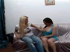 Sexy Blond T-girl Fucks A Latina Honey Really Deep