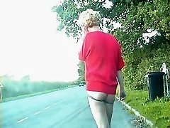 Zoe exhibitionist transvestite bitch in bumless molten pants on the streets