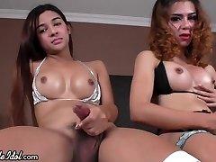Transgirls Jerk off in Hotel Room