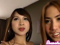 These spunky Asian ladyboys bend over to expose their delicate buttholes and finger themselves.