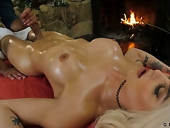 Jaw dropping transgender Domino Presley is nailed after a full bod massage