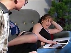 Fucking a curvy brown-haired with big tits