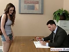 Sumptuous coed in glasses Molly Jane nail in classroom