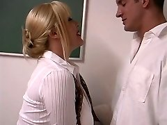 Mature blond with enormous titties screwed by student in the classroom