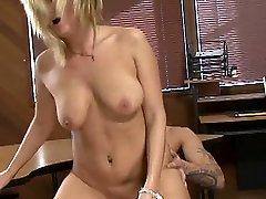 A dirtymind teacher Becca Blossoms plows her schoolgirl on her own desk
