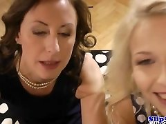 Classy eurobabe shares dick with softcore cougar