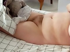 hairy pussy, big hooter bbw laying nude on the bed