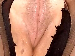 my ex-wifey - clean-shaven pussy in pantyhose, tits.