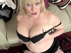 Hot British mother shows great fun bags and masturbates