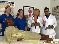 CFNM chesty nurse interracially cumsprayed