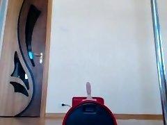Platinum-blonde with big natural cupcakes on webcam